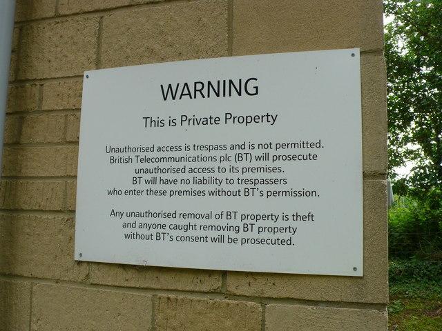 Warning sign on BT building