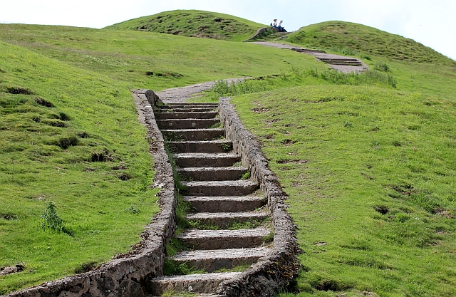 Steps up to the top of Herefordshire Beacon.