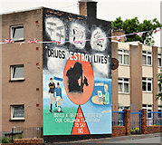 J4073 : Anti-drugs mural, Tullycarnet, Belfast by Albert Bridge