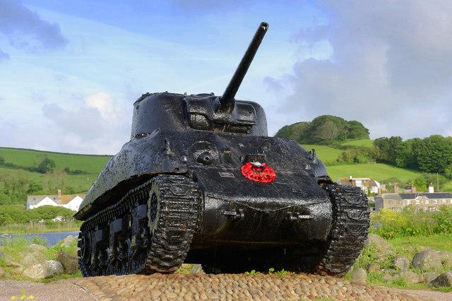 Sherman Tank memorial at Torcross, Devon