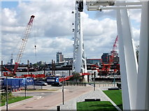TQ3979 : Looking north from Emirates Air Line cable car by PAUL FARMER