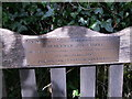 SN1415 : Plaque on bench by chris whitehouse
