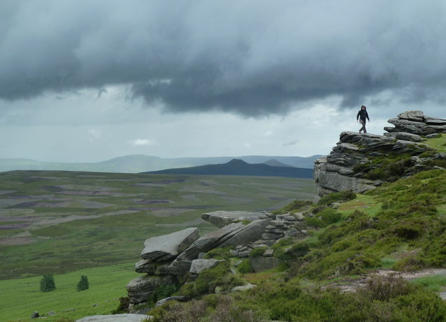 Climber on Stanage Edge