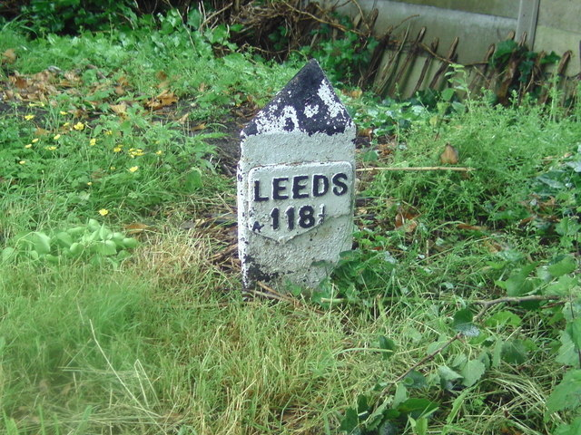 Milepost on Leeds-Liverpool Canal