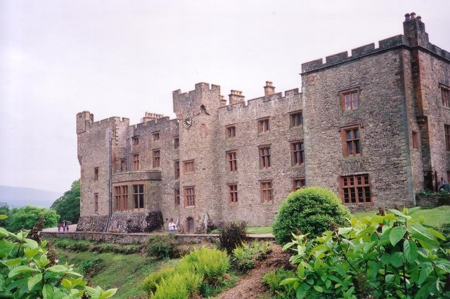 The northern frontage of Muncaster Castle in June 2000