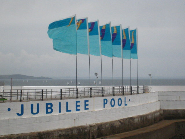 Colourful flags at the Jubilee Pool Penzance