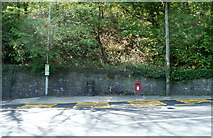 SO2606 : Bus stop, postbox and litter bin, Cwmavon by Jaggery