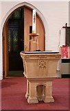 TQ3068 : St Philip, Beech Road, Norbury - Font by John Salmon