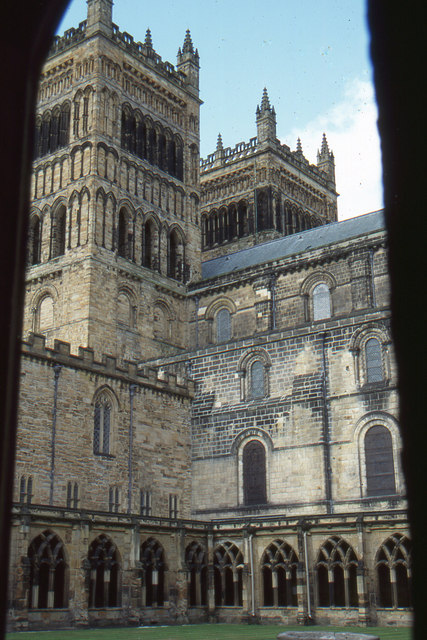 Durham cathedral: west towers from cloister