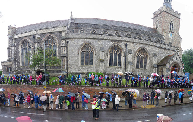 Waiting in the rain by St James' church