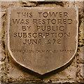 SD6721 : Darwen Tower, Restoration Plaque by David Dixon