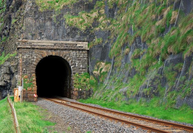 Downhill railway tunnel