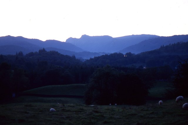 Langdale Pikes from Skelwith Fold, sunset