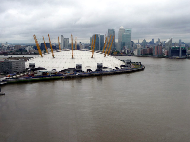 O2 Centre and Canary Wharf from Cable Car across The Thames
