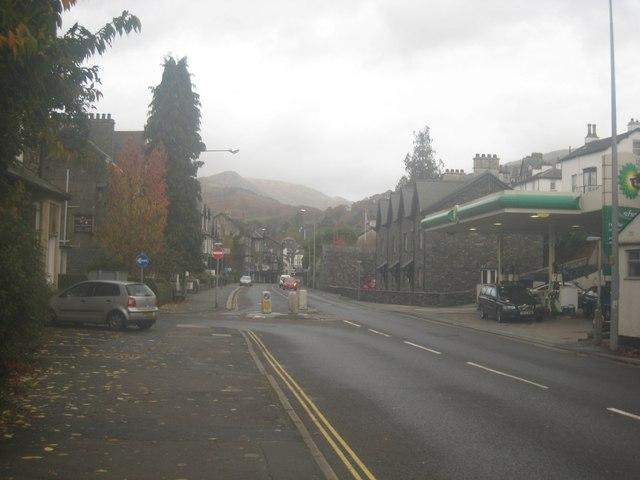 Looking along Lake Road towards Ambleside town centre