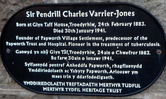 Troedyrhiw plaque marking the birthplace of a pioneer in the treatment of tuberculosis by Jaggery