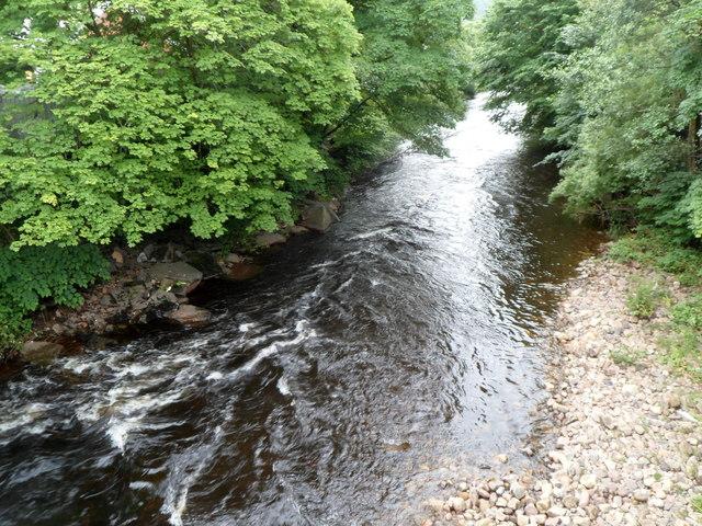 River Taff downstream from Pont Rhun, Troedyrhiw by Jaggery