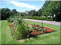 TQ3067 : Flower beds at the entrance to Croydon Cemetery by Marathon