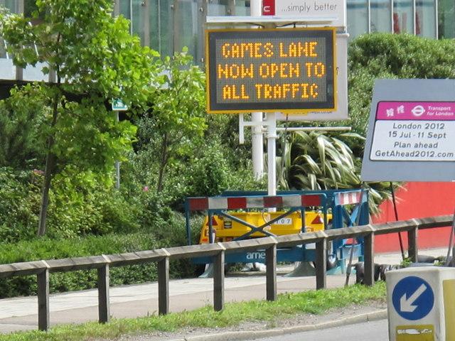 Sign for Olympics lane, Gipsy Corner