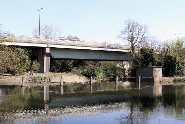 Weir and M4 Motorway by Martin Addison