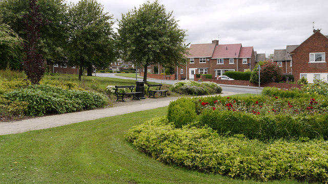 Spennymoor: roadside gardens on route of old railway