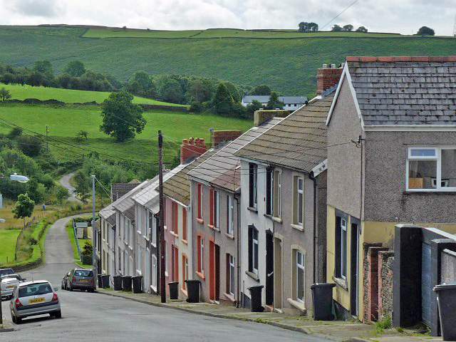 Terraced houses on a steep hill, Bedlinog