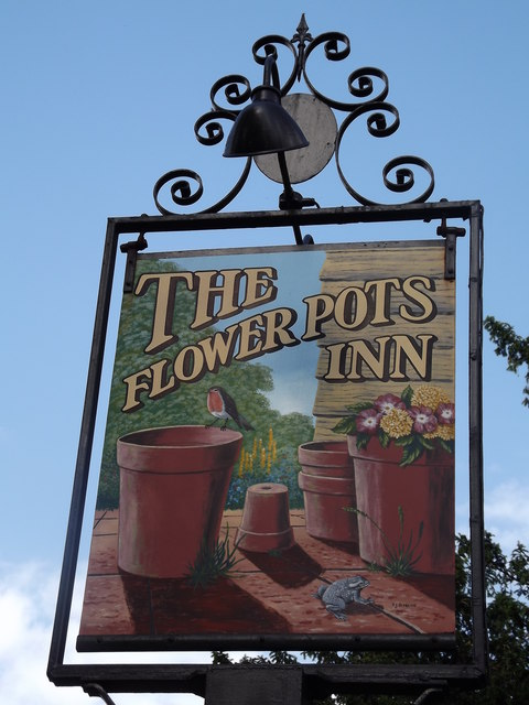 The Flower Pots Inn Sign & The Flower Pots Inn Sign © Colin Smith :: Geograph Britain and Ireland