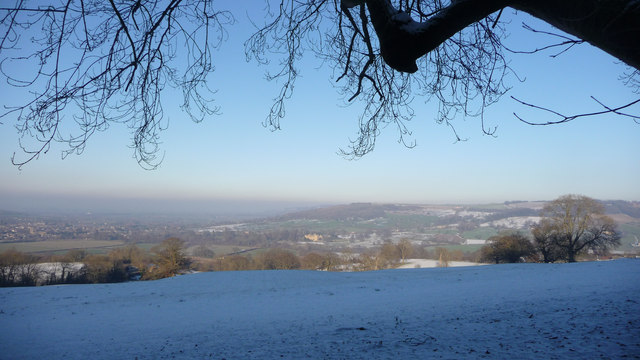 Snow covered fields near Winchcombe