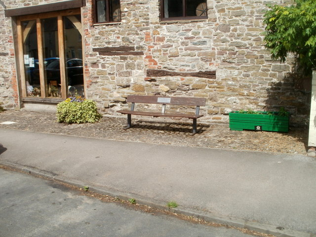 Alfred Russel Wallace memorial bench outside Usk Rural Life Museum