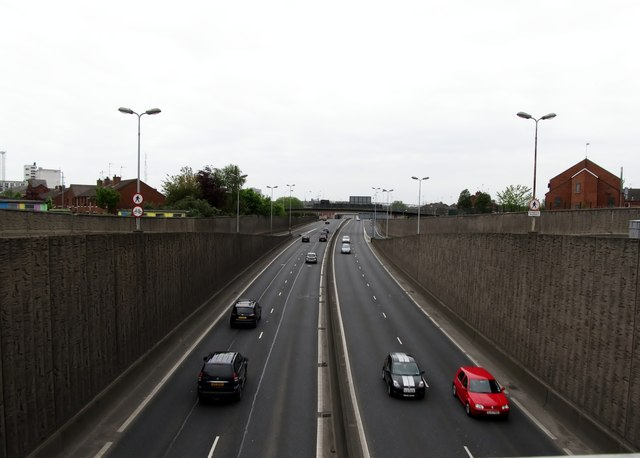 The Westlink from the Divis Street road bridge