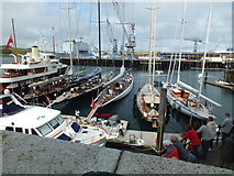 SW8132 : J Class Yachts In Falmouth Harbour by Raymond Cubberley