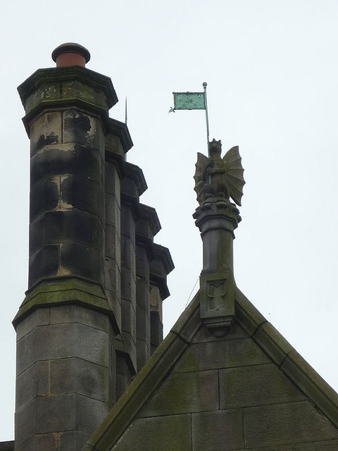 Winged figure and chimneys, Greaves Park, Lancaster