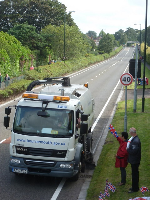 Ensbury Park: road sweeper ahead of the Olympic torch relay