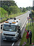 SZ0894 : Ensbury Park: road sweeper ahead of the Olympic torch relay by Chris Downer