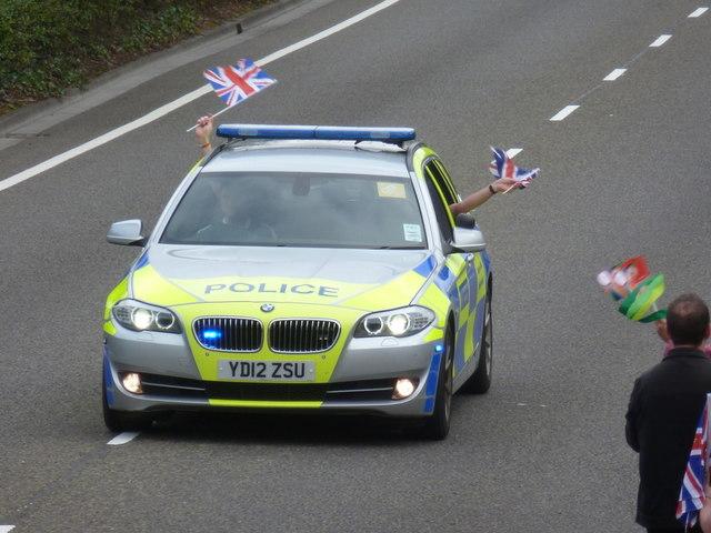 Ensbury Park: a flag-waving police car