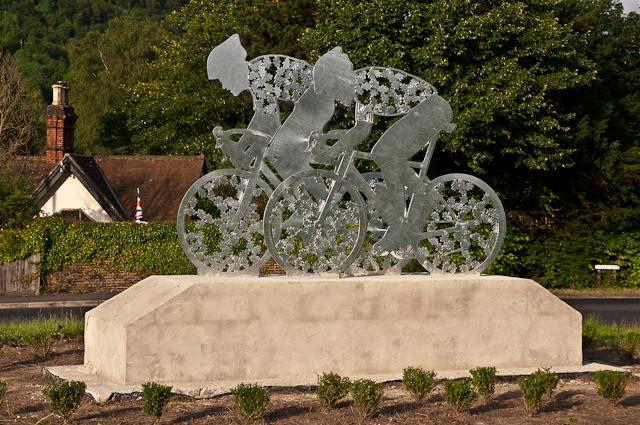 Pixham End Roundabout cycling statue