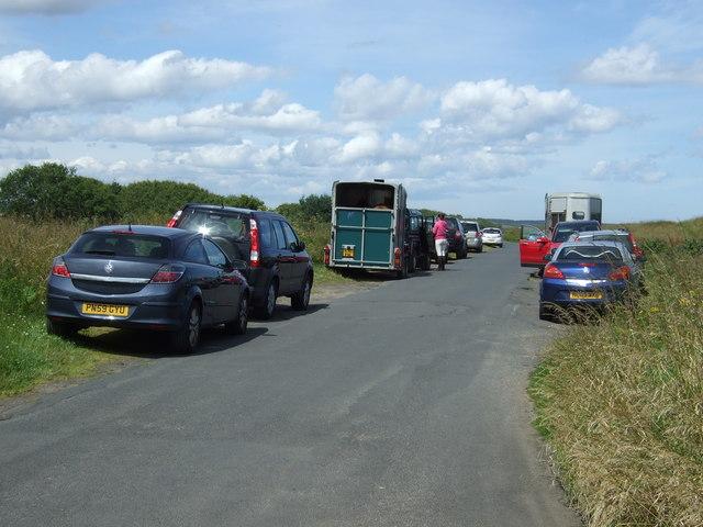 Coastal lane heading north, Druridge Links
