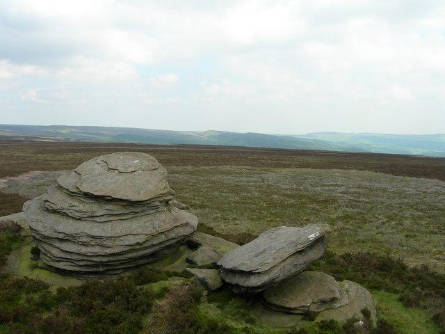 Northeast view across Derwent Moor from the Wheel Stones