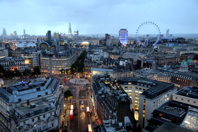 Twilight over London from New Zealand High Commission