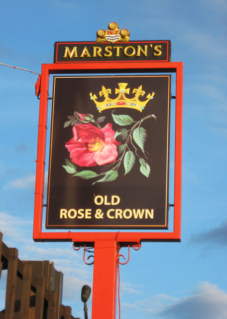 The Old Rose & Crown (2) - sign, Worcester Road, Stourport-on-Severn