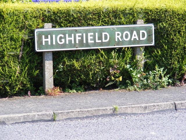 Highfield Road sign