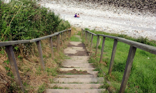 Steps to the Beach at Penrhyn Bay