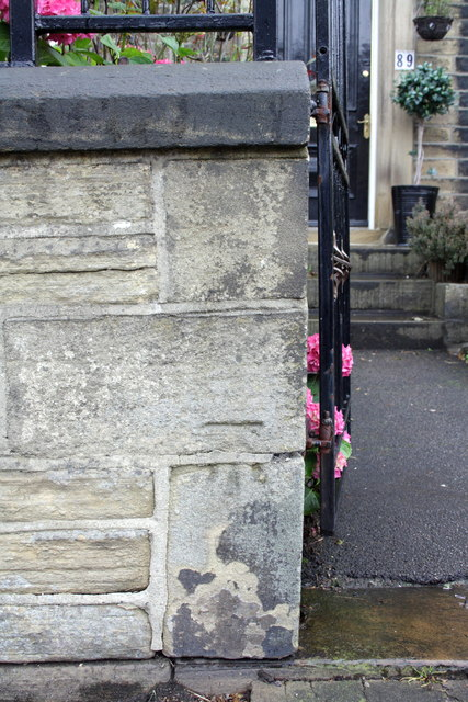 Benchmark on wall at entrance to #89 Park Road
