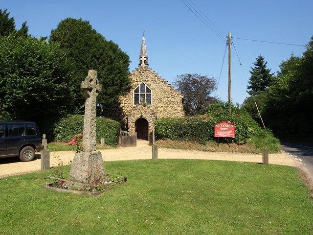 War memorial and St James' church, Alderholt