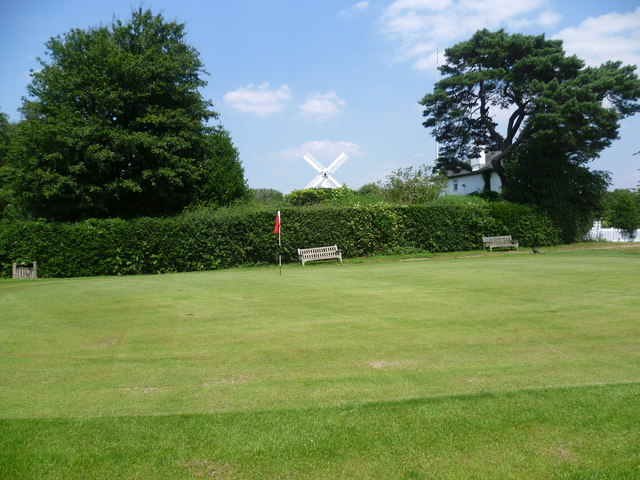 Golf course green and windmill, Wimbledon Common