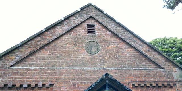 Descriptive stone in gable end of Primitive Methodist Chapel at Gun End, now Gun End House