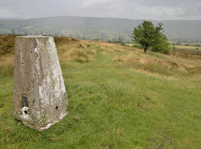 Trig point on Gun, looking east towards the Roaches