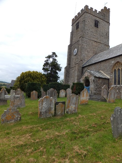 Dunsford church and graves in the churchyard