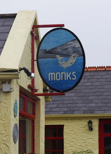 Monks Bar & Restaurant (2) - sign, Old Pier, Ballyvaughan, Co. Clare