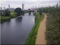 TQ3784 : River Lea with Olympic Stadium in background by C Michael Hogan